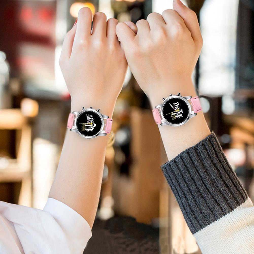 Leather Strap Quartz Watch Unisex Letter Print Round Dial Analog Wristwatch Couple Watches 2020 New