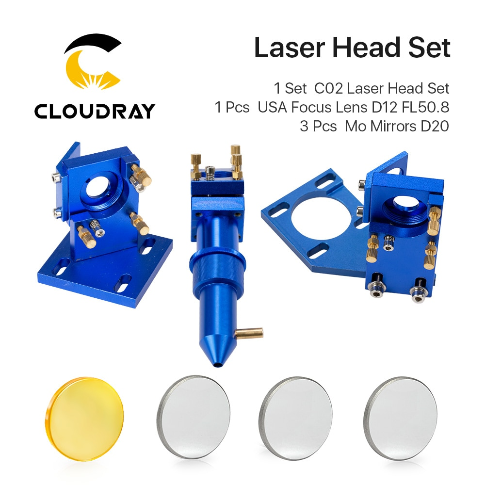 aliexpress.com - Cloudray K Series Blue Golden  CO2 Laser Head Set with Lens Mirror for 2030 4060 K40 Laser Engraving Cutting Machine