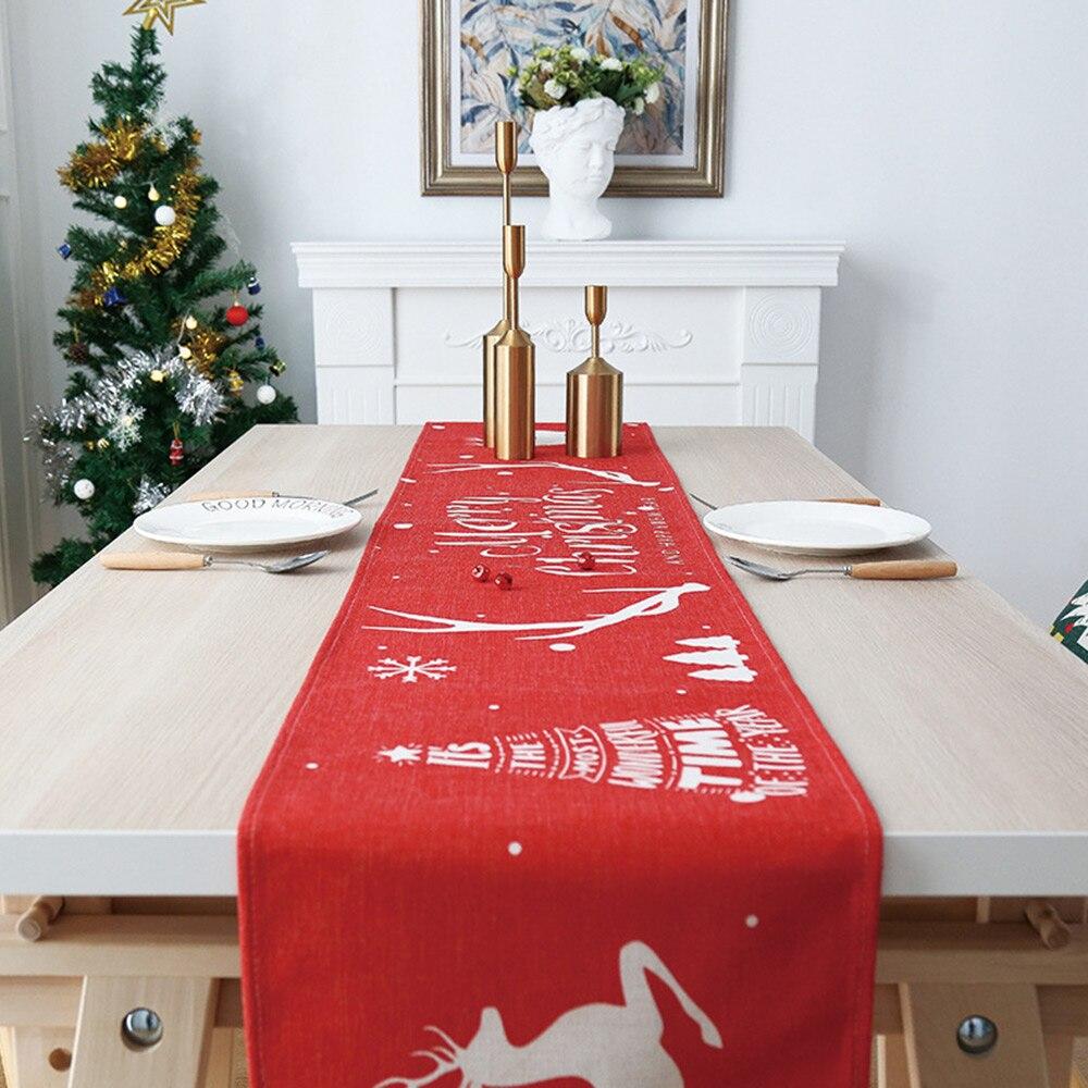 Navidad corredor de mesa de lino de algodón, estilo nórdico, caminos de mesa de comedor de adornos de bandera de Navidad Año Nuevo adornos de 30X180CM