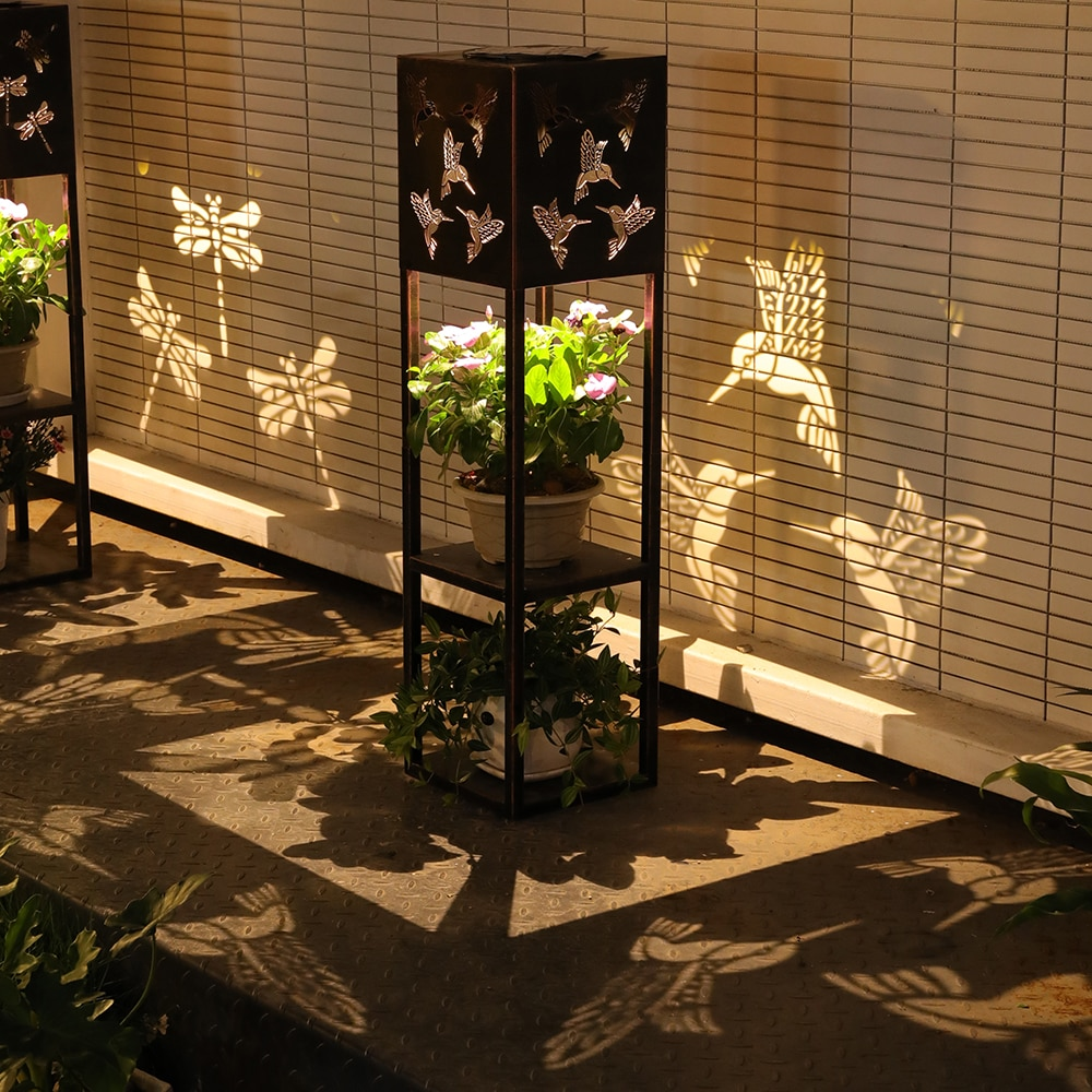Multifunction Flower Pot Stand Solar Lamp Outdoor Waterproof Solar Lights for Garden Decoration Lights Hollow Carving Lighting enlarge