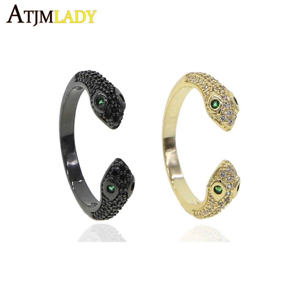 Anillo de dedo ajustado abierto de moda para mujeres verde claro cz pavimentado clásico forma de serpiente anillo de dedo de envolver joyería