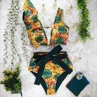high waist bikinis 2021 new print swimwear women swimsuit shoulder ruffle bathing suits beach wear push up swimwear women
