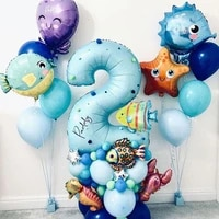 44pcs ocean under the sea world animals balloons set baby shower age number 1 2 3 4 5 6 7 8 9 birthday party decorations kids