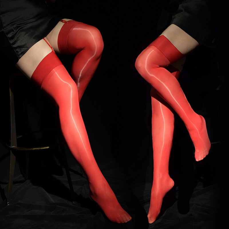 Sexy Men Candy Color Oil Shiny High Stockings Vintage Glossy Stocking Sexy Tight Shaping Elastic Stockings Overknee Plus Size F8