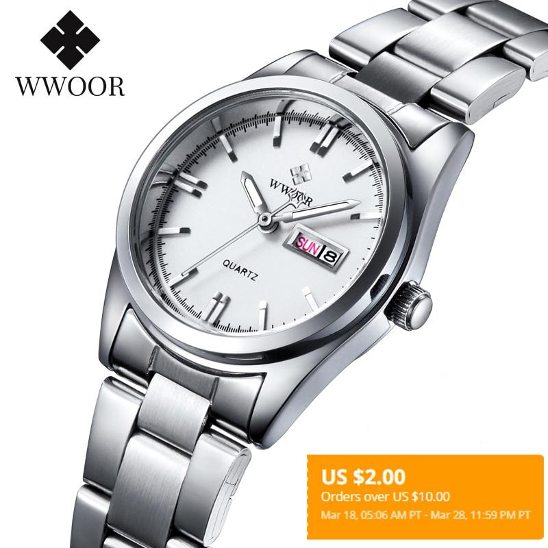 Montre Femme 2020 WWOOR Brand Fashion Business Quartz Ladies Watches Waterproof Silver White Clock Date Dress Wristwatch Women enlarge