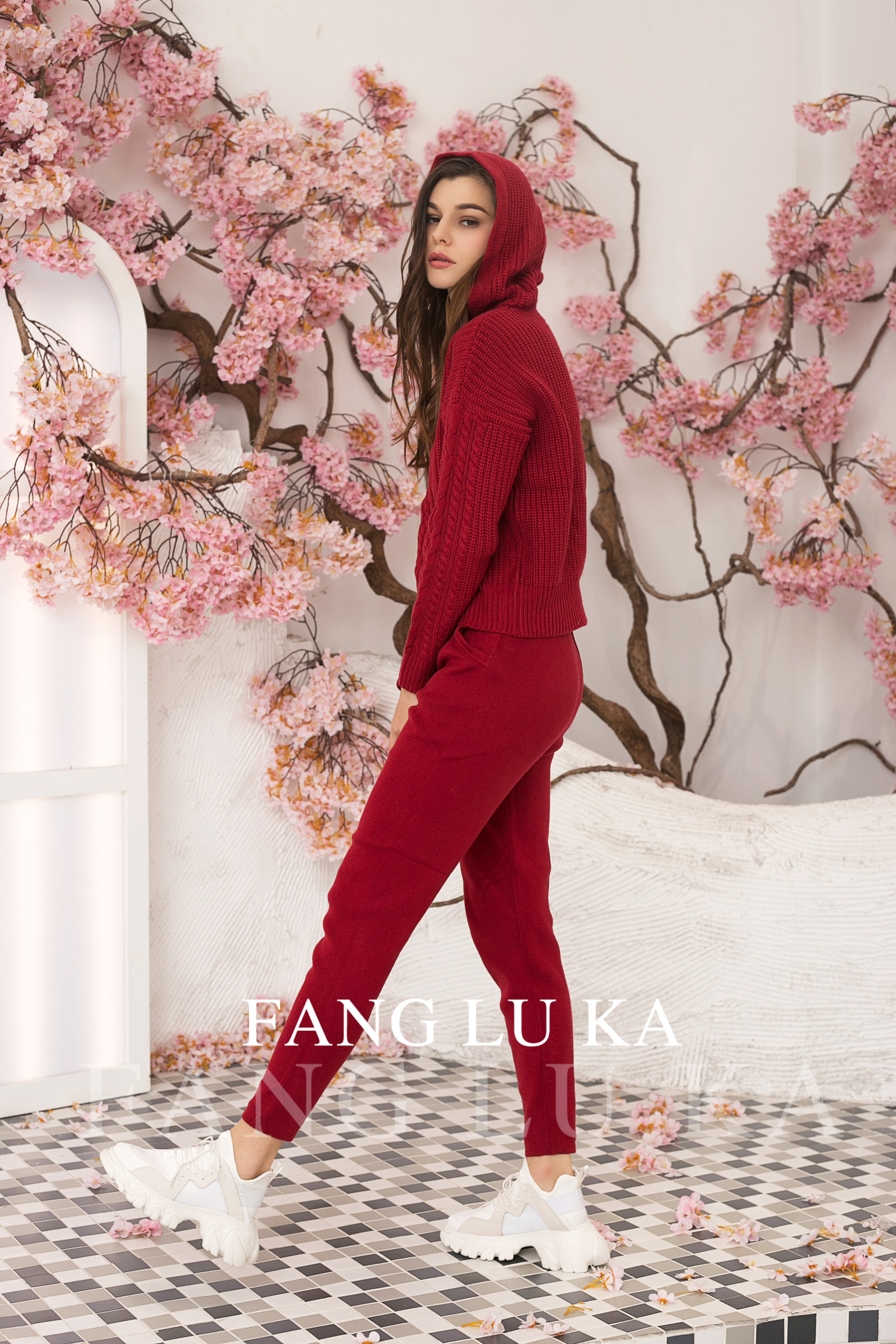Fashion Sets New Hoodie+Casual Leggings Two Piece in autumn and winter Fashion Cashmere Knitting Hoodie Two Piece Women's enlarge
