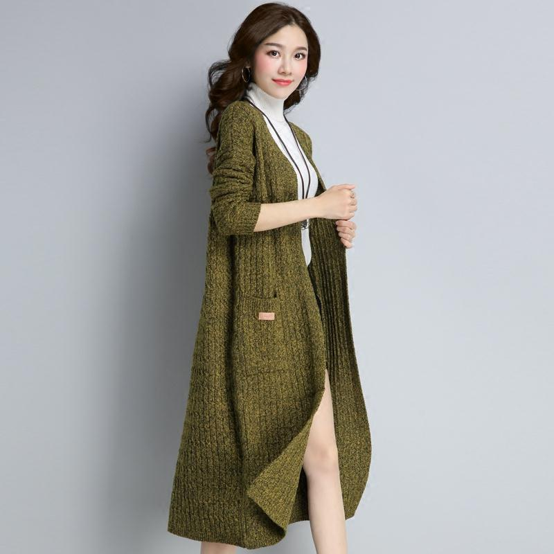 Autumn spring fashion long cardigan for women knitted sweater open front fall outfits 1.0 enlarge