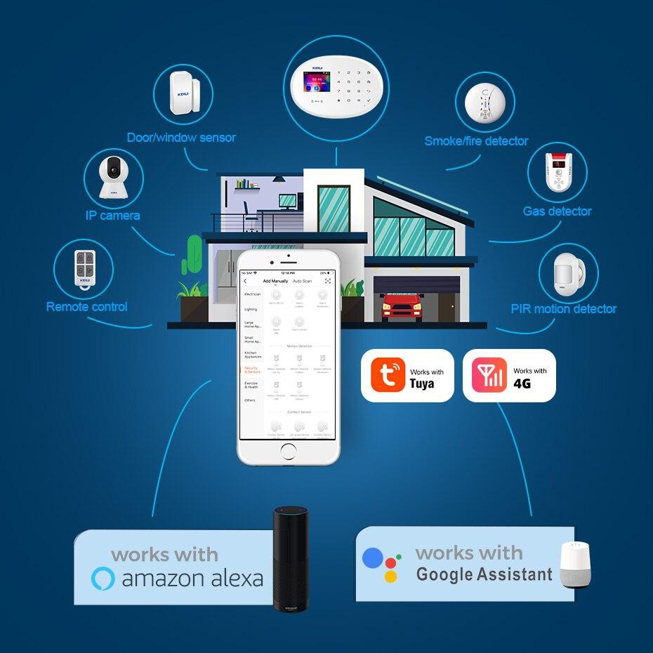 KERUI W20 WIFI GSM 4G Alarm System 433Mhz Home Security Tuya Smart Android IOS Phone APP 8 Language Switch Anti Theft Alarm Kit enlarge