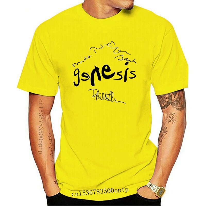 New Genesis Autograph T Shirt Phil Collins Mike Rutherford Tony Banks O Neck T Shirt Short Sleeve Fashion Summer Printing Casual