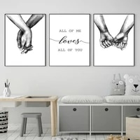 black and white love you all hand in hand love letter painting canvas frameless newspaper rack living room art decoration