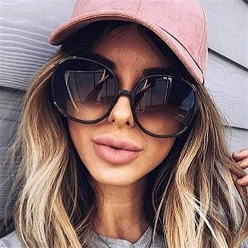 CURTAIN 2020 New Round Sunglasses Women Oversized Lady Fashion Plastic Eyewear Gradient Sun Glasses