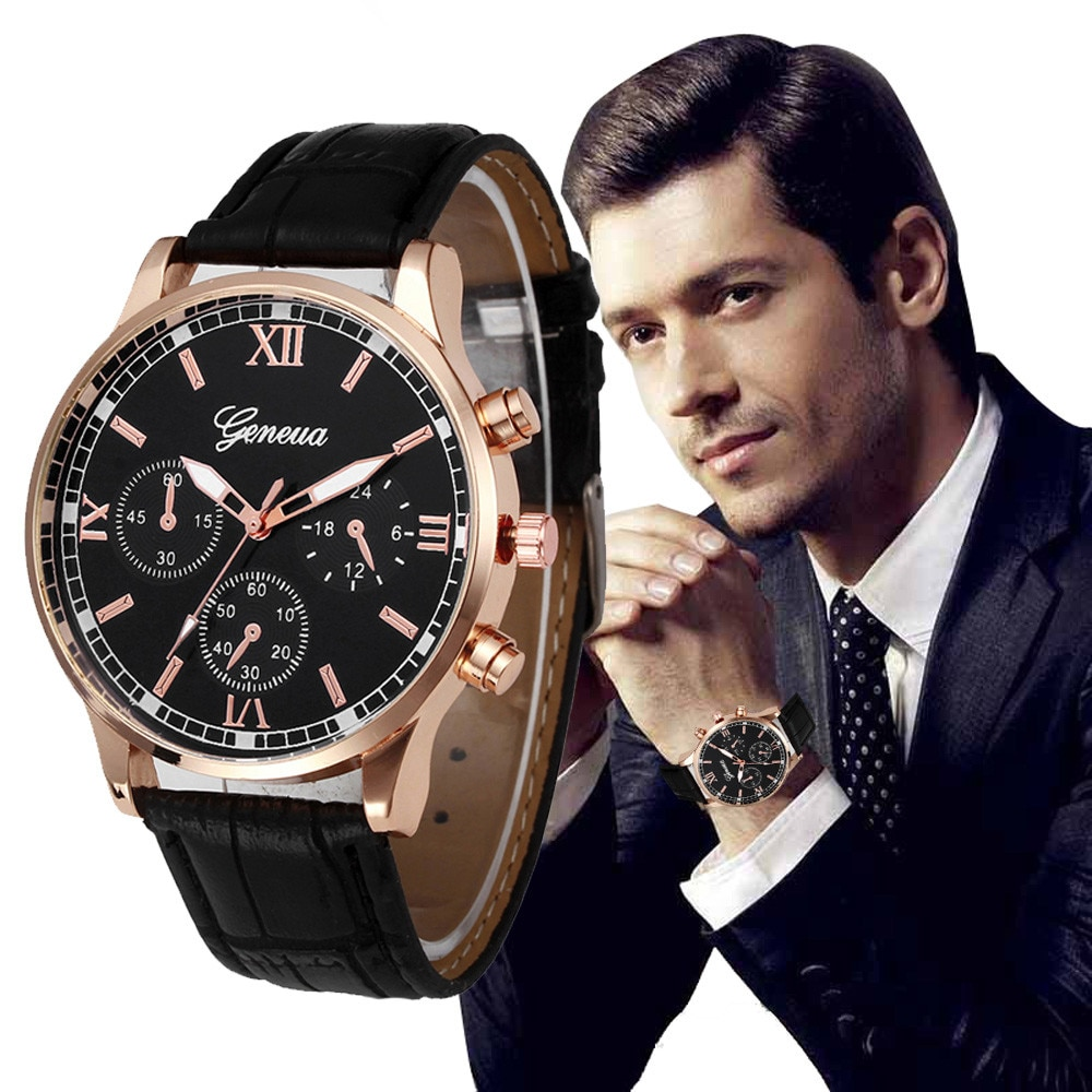 2021 Men's Watches Retro Design Leather Band Analog Alloy Quartz Wrist Watch Quartz Watch For Men Re