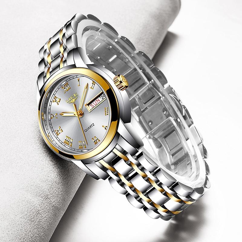 LIGE 2020 جديد الذهب ساعة النساء الساعات السيدات الإبداعية الصلب المرأة ساعات يد الإناث مقاوم للماء ساعة Relogio Feminino