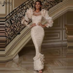 Abendkleider Feather Mermaid Evening Dresses Long Sleeve Women Party Gown Arabic Dubai Heavy Beaded Prom Dress Robe Soiree 2020