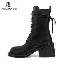 Noir en cuir véritable femmes bottes talons épais Botas de cheville Mujer à lacets dames chaussons courts fermeture éclair côté bottes de Cowboy