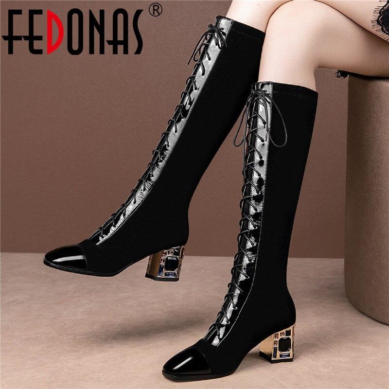 FEDONAS زي سائد محبوك على الجسم أحذية عالية حجر الراين جلد طبيعي الصليب تعادل أحذية امرأة نيغ نادي حفلة عالية الكعب حذاء برقبة للركبة