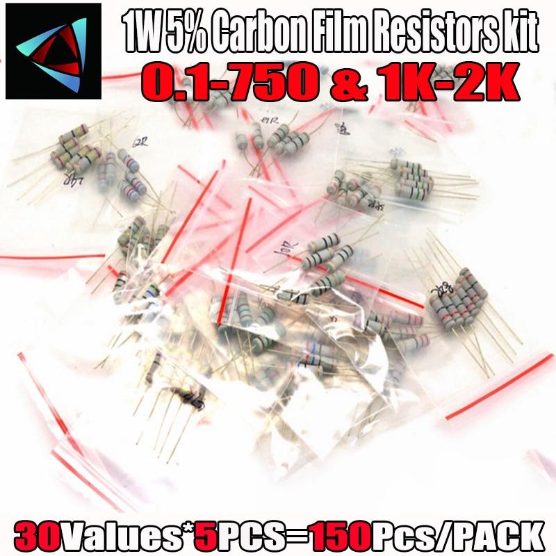 Resistores de película de carbono 150 Uds 1W 0,1 Ohm ~ 750 ohm o 1K ~ 2M 5% Kit surtido de resistencia 30 valores * 5 uds