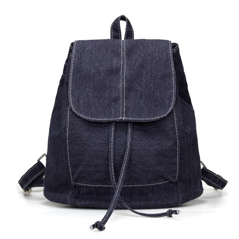 Новый Джинсовый холщовый женский рюкзак школьные сумки на шнурках для девочек-подростков маленький рюкзак женский рюкзак женские рюкзаки