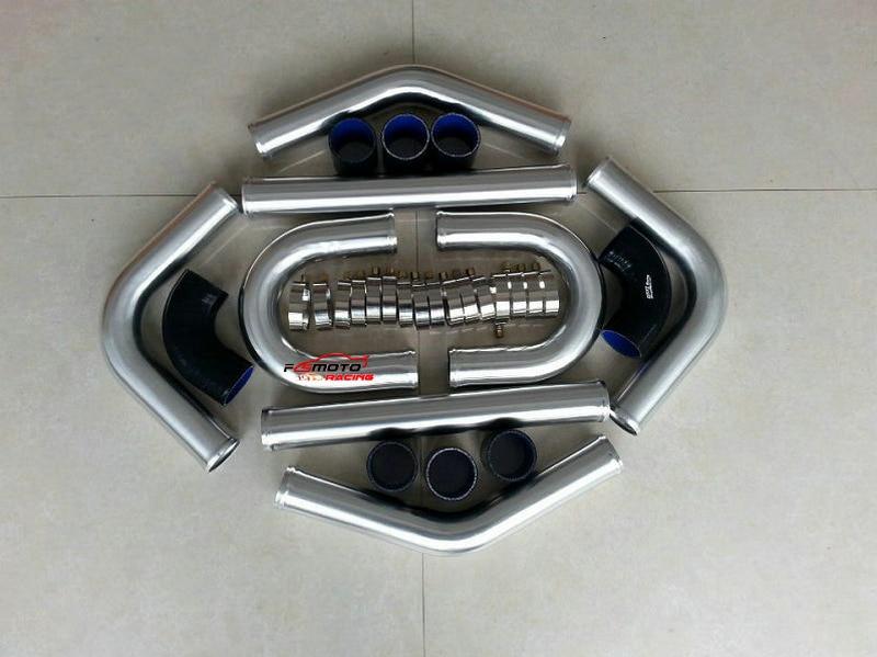 "3"" 76mm Aluminum Intercooler Turbo Piping Black Hose T-Clamp kits New"