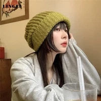 women bucket hat autumn winter solid color knitted cap japanese wool windproof earmuffs to keep warm men caps fashion casual hat