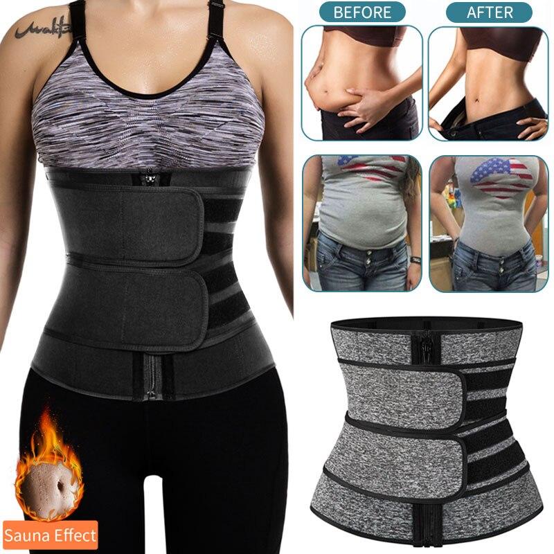 Mujeres adelgazamiento funda entrenador de cintura vientre reducir fajas vientre modificadores cuerpo sudor tiras Sauna corsé entrenamiento Trimmer cinturones