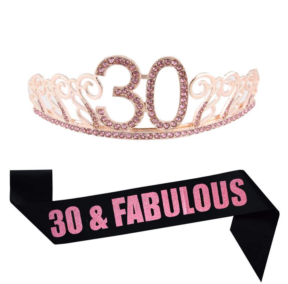 Rosa 21/30/40th Geburtstag Gold Tiara und Fabulous Glitter Satin Schärpe Glücklich 30th Geburtstag Partei Liefert für 30 geburtstag Party