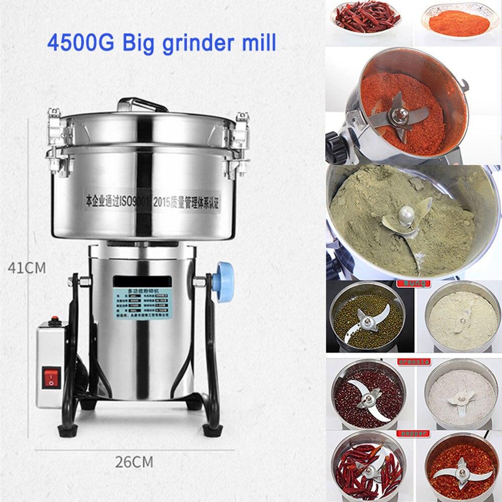 Molinillo Eléctrico de acero inoxidable 4500G para alimentos, 220V molinillo de 110V para hierbas, especias, granos, molinillo de café, máquina para harina en polvo seco