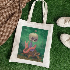 2021 classic Scary Skull Retro Literary Canvas Bag Women's Shoulder Bag Cotton Shopping Shopper Ladies Hand Bags Tote Bags