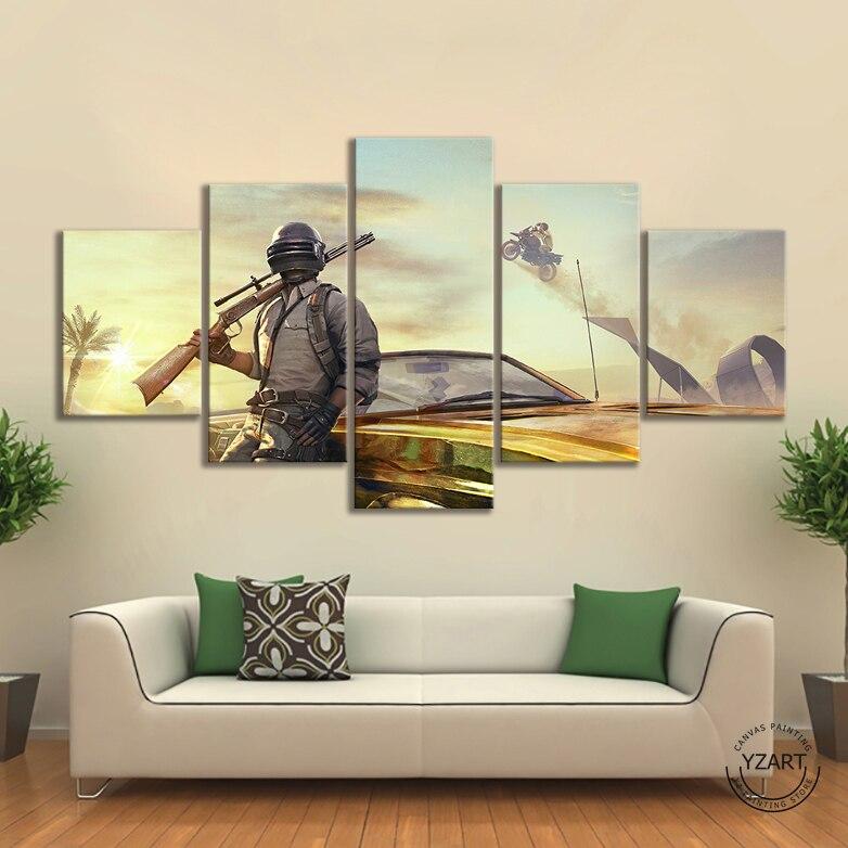 5 pçs pubg m golden mirado mad miramar jogo de vídeo posters quadros da arte lona parede para sala estar decoração
