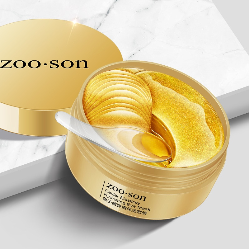 Mascarilla de colágeno Caviar de oro para los ojos, 60 uds., máscara hidratante Natural para eliminar las ojeras, antiarrugas en los ojos y el cuidado de la piel
