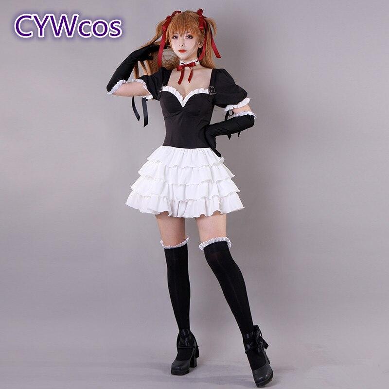 EVA Asuka Langley Soryu Cosplay Kostüm Schwarz Lolita Kleid Gothic Rock Täglichen Cosplay Outfits Spiel Zubehör Weihnachten Geschenk
