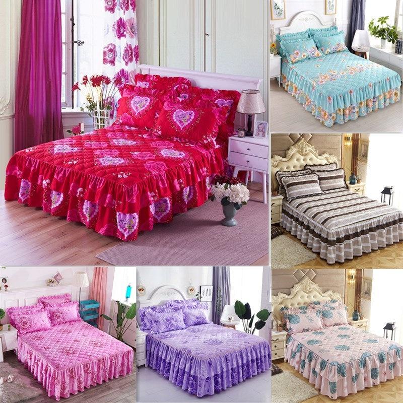 Falda de cama acolchada de poliéster sábana de cama impresa tamaño doble reina rey cubrecama juego de cubierta de colchón couvre lit