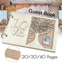 20/30/40 páginas rústico madera boda Libro de Visitas árbol personalizado alternativo personalizado libro de signos con ranura para foto de pareja