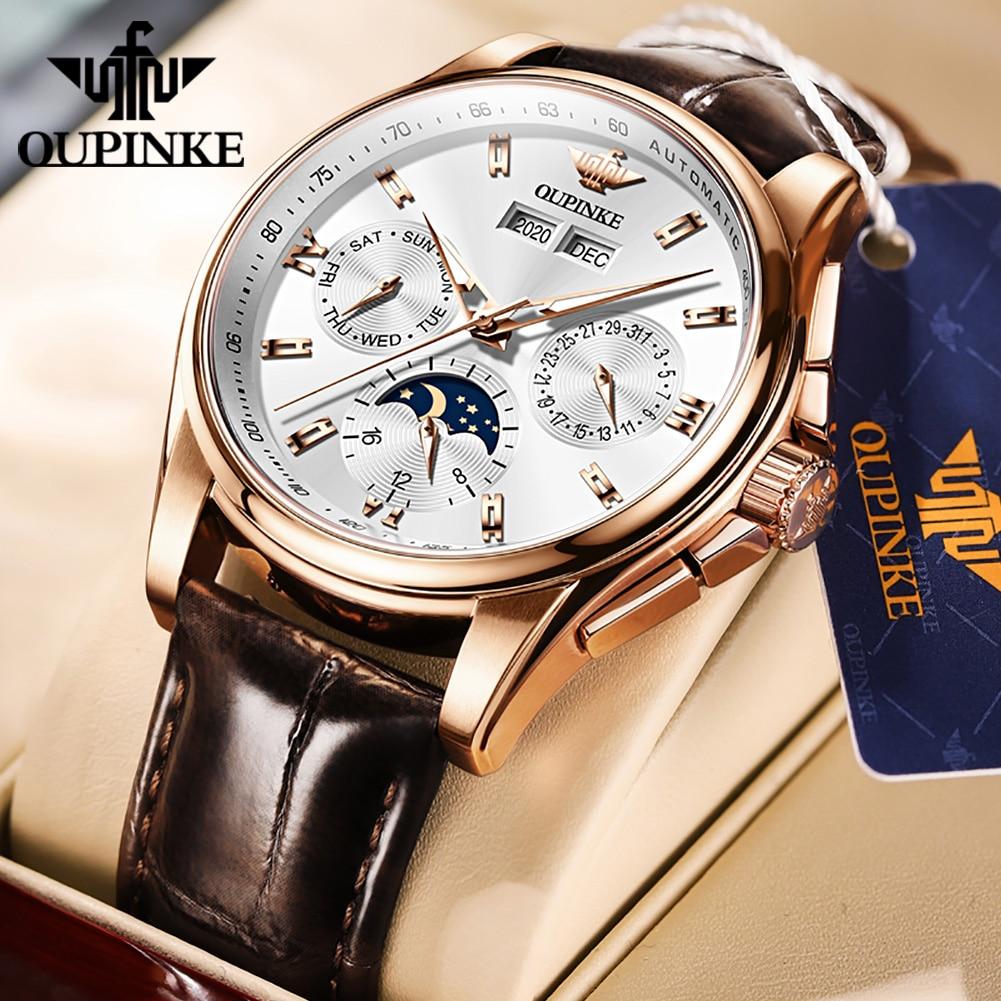 OUPINKE ساعة فاخرة الرجال الميكانيكية ساعة اليد التلقائي ساعة الرجال الجلود الياقوت مقاوم للماء الرياضة القمر المرحلة ساعة اليد