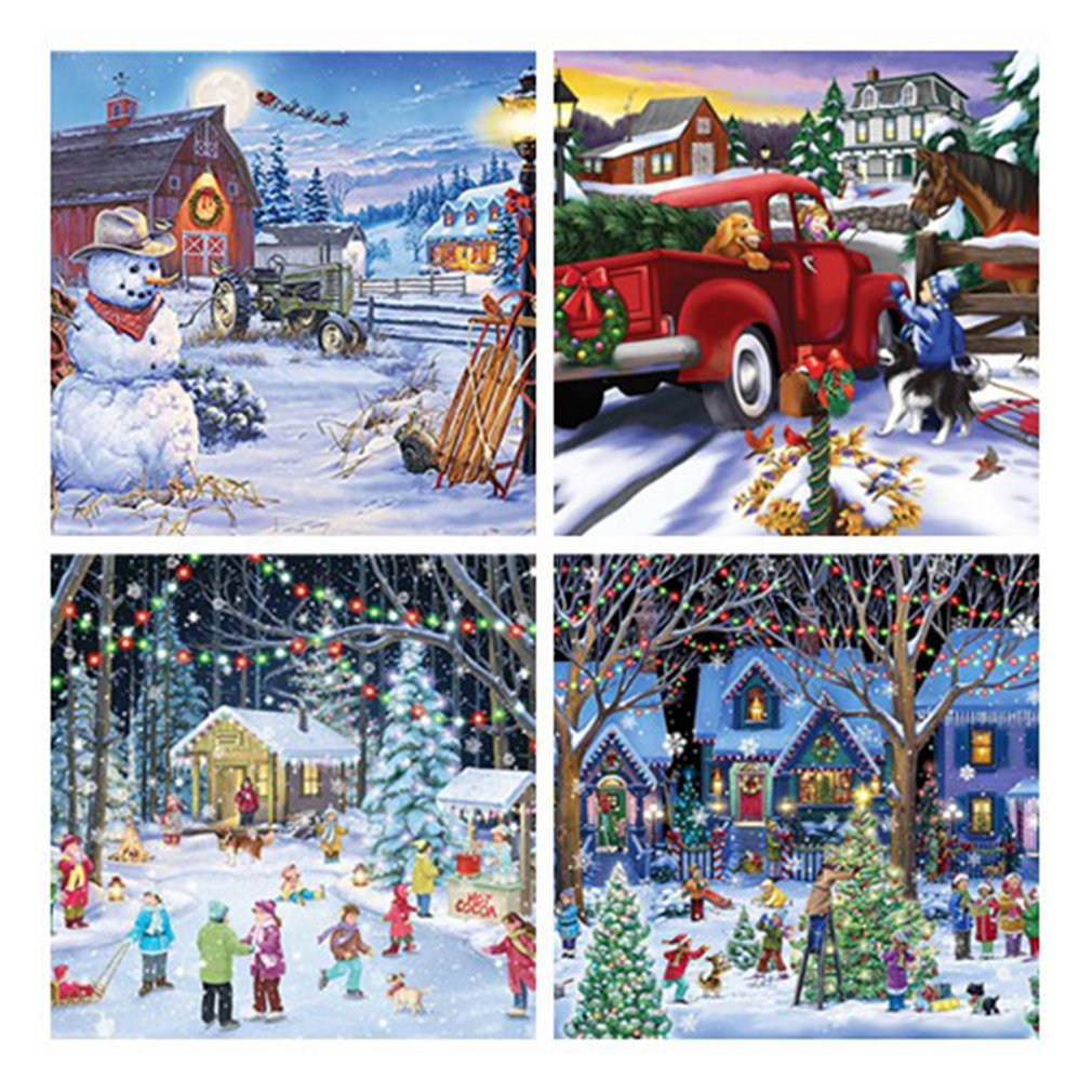 Christmas Theme Jigsaw Puzzles 1000 Piece Puzzle Large Jigsaw Puzzle For Adult Children Puzzle Game Christmas Gifts Educational недорого