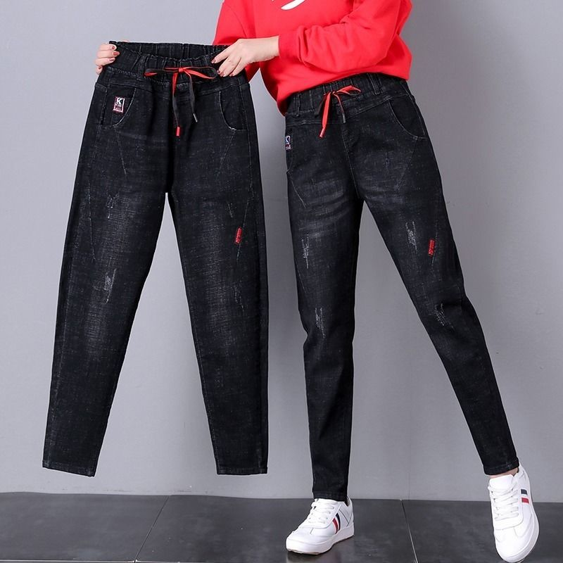 High-waisted jeans women loose black Harun pants 2019 autumn dress new big size fat mm elastic small feet radish pants