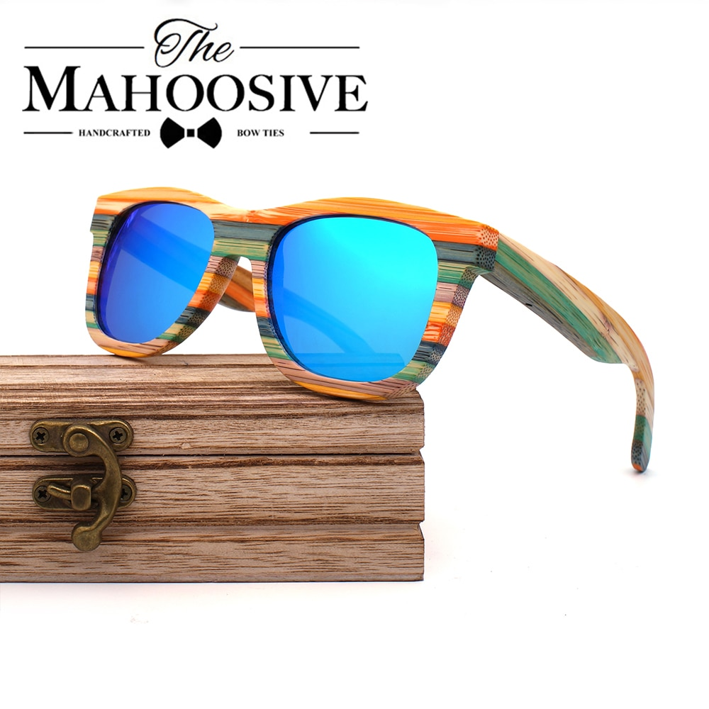 2020 Mens Sunglasses Polarized Bamboo Wood Mirror Lens Sun Glasses Women Brand Design Colorful Shade