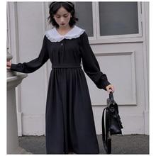 Japonais Harajuku femmes noir Maxi longue robe col claudine Vintage Lolita Style Vestidos Longo manches longues mignon Kawaii robe