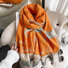 Solid Thick Scarf for Women Luxury 2021 Horse Print Hijab with Tassel Warm Winter Autumn Blanket Sha