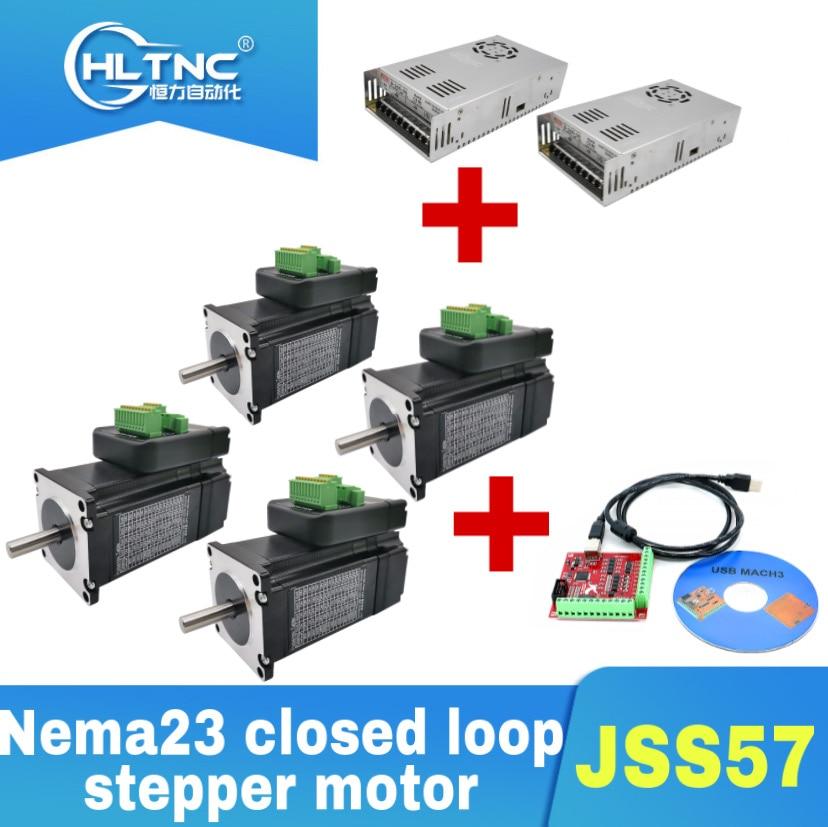 Nema23 4 قطعة JSS57P1.5N / 2.2N / 3N حلقة مغلقة السائر + 2 قطعة 350w 36v امدادات الطاقة + 1 مجموعة من mach3 واجهة مجلس