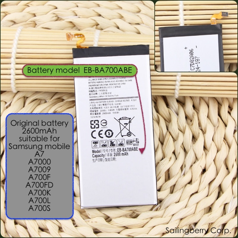 Batería Original adecuado para Samsung móvil A7 、 A7000 、 A7009 、 A700F 、 A700FD 、 A700K 、 A700L 、 A700S con modelo de batería EB-BA700ABE