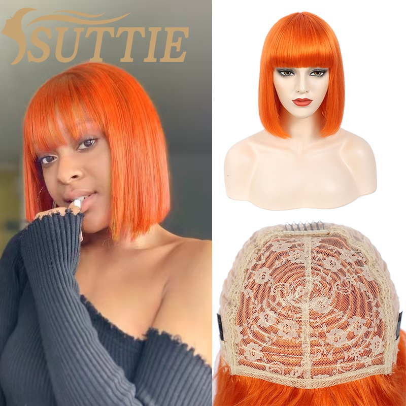 Suttie Human Hair Wigs Color Short Bob Wig With Bangs Orange Pink Full Machine 12 Inch Brazilian Straight Cosplay Wig For Women fashion side bang short straight orange charming kousaka honoka cosplay wig with double chignons
