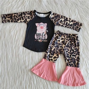 Baby Girls Wild Child Pig Printed Outfits Long Sleeves Top Bell Bottom Leopard Pants Kids Sets Children Clothes Boutique