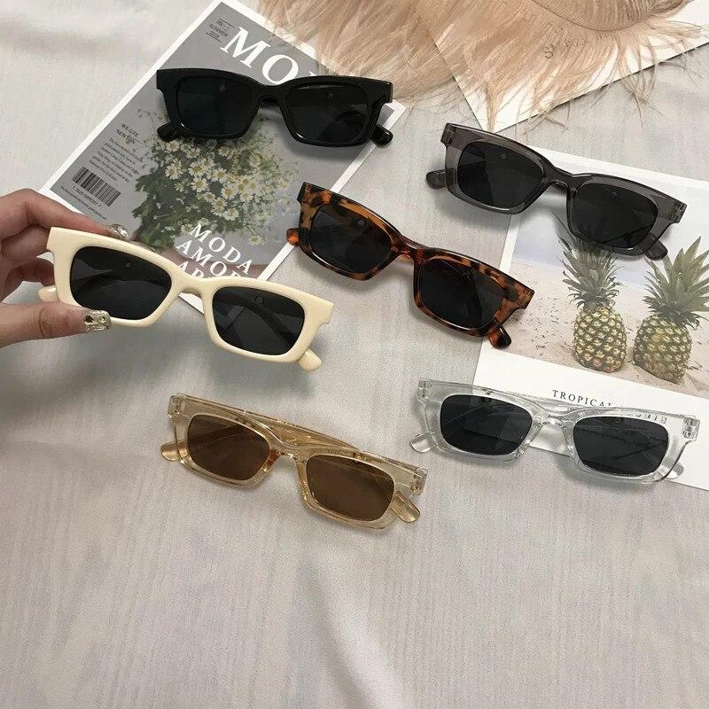 Women Rectangle Vintage Leopard Sunglasses Brand Designer Eyeglass Cat Eye Driver Goggles Cycling Su