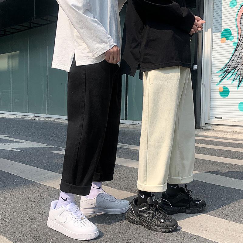 Cotton Wide-leg Jeans Men's Fashion Casual Solid Color Retro Jeans Men Streetwear Loose Hip-hop Straight Denim Pants Mens M-2XL