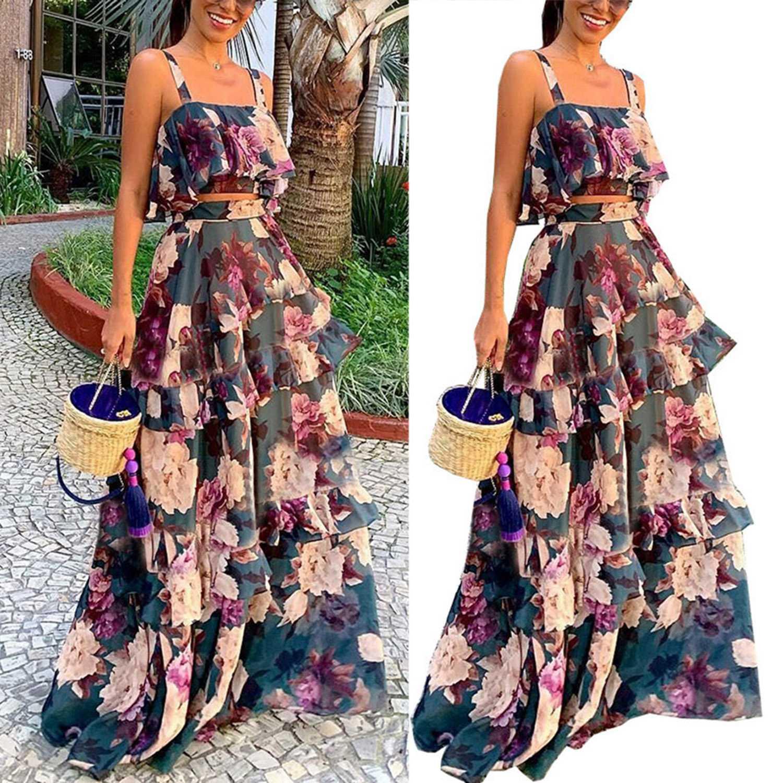 Conjunto de falda Sexy de dos piezas Boho de verano conjunto de falda corta Maxi faldas con estampado Floral volante de alta cintura Casual de dos piezas