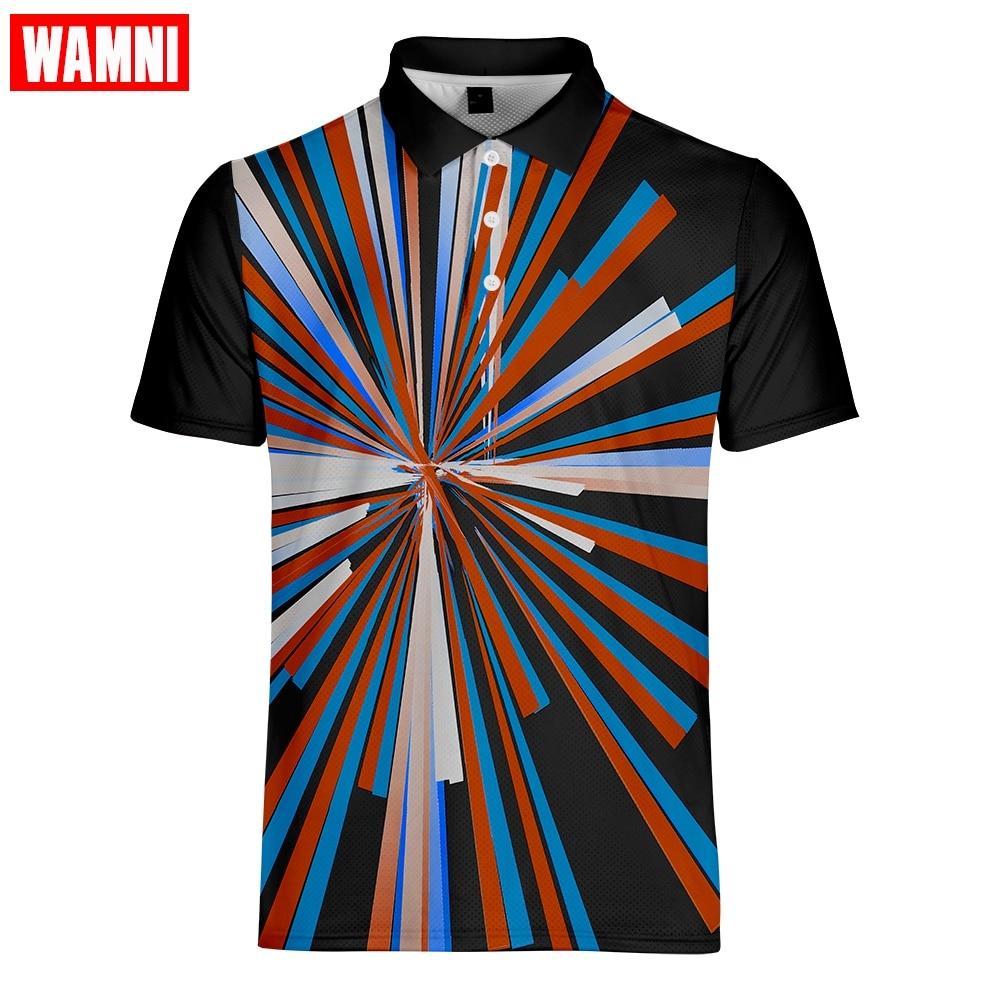 WAMNI модное поло высокого качества 3D быстросохнущая рубашка с отложным воротником