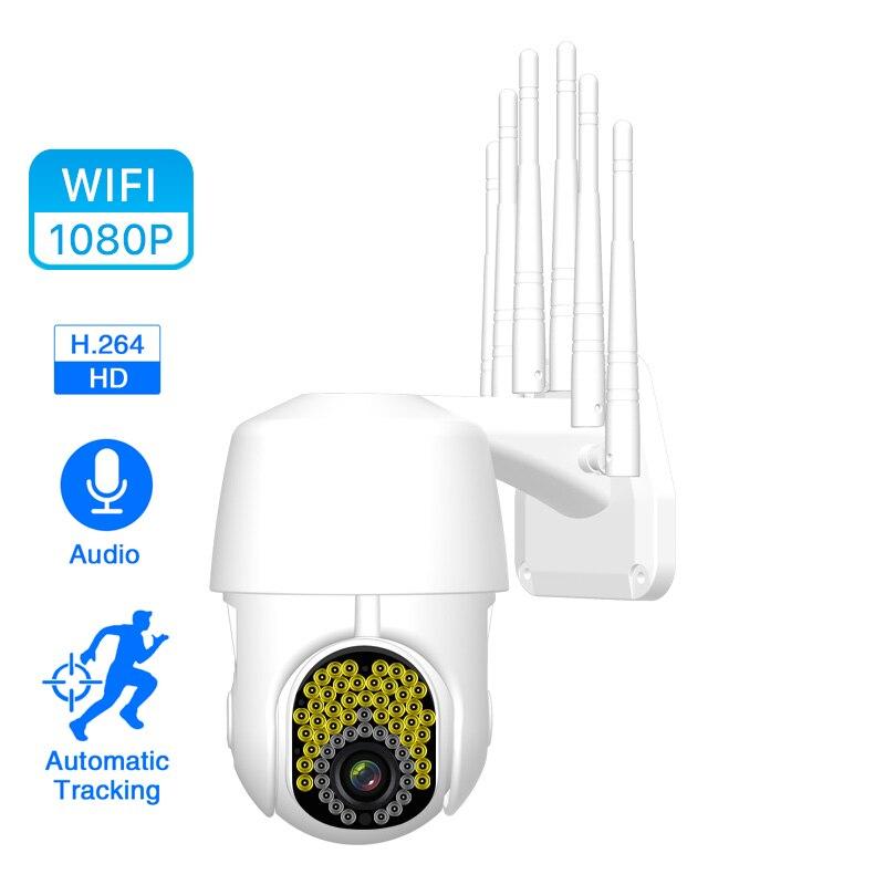 Cámara WIFI 1080P para exteriores, cámara IP inalámbrica PTZ, cámara de seguridad CCTV con domo de velocidad 2MP, cámara IR para el hogar con tarjeta de memoria 32G 64G