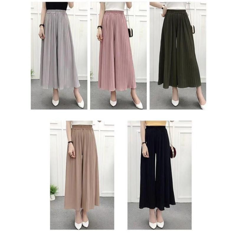 Pantalones de mezcla de algodón de pierna ancha a la moda para mujer Pantalones plisados respirables finos pantalones casuales sueltos