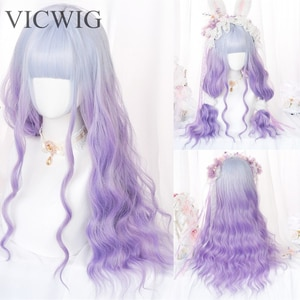 VICWIG Long Curly Synthetic Wig Lolita Style Gradient Purple Pink Mixed Brown Cosplay Wig with Bangs